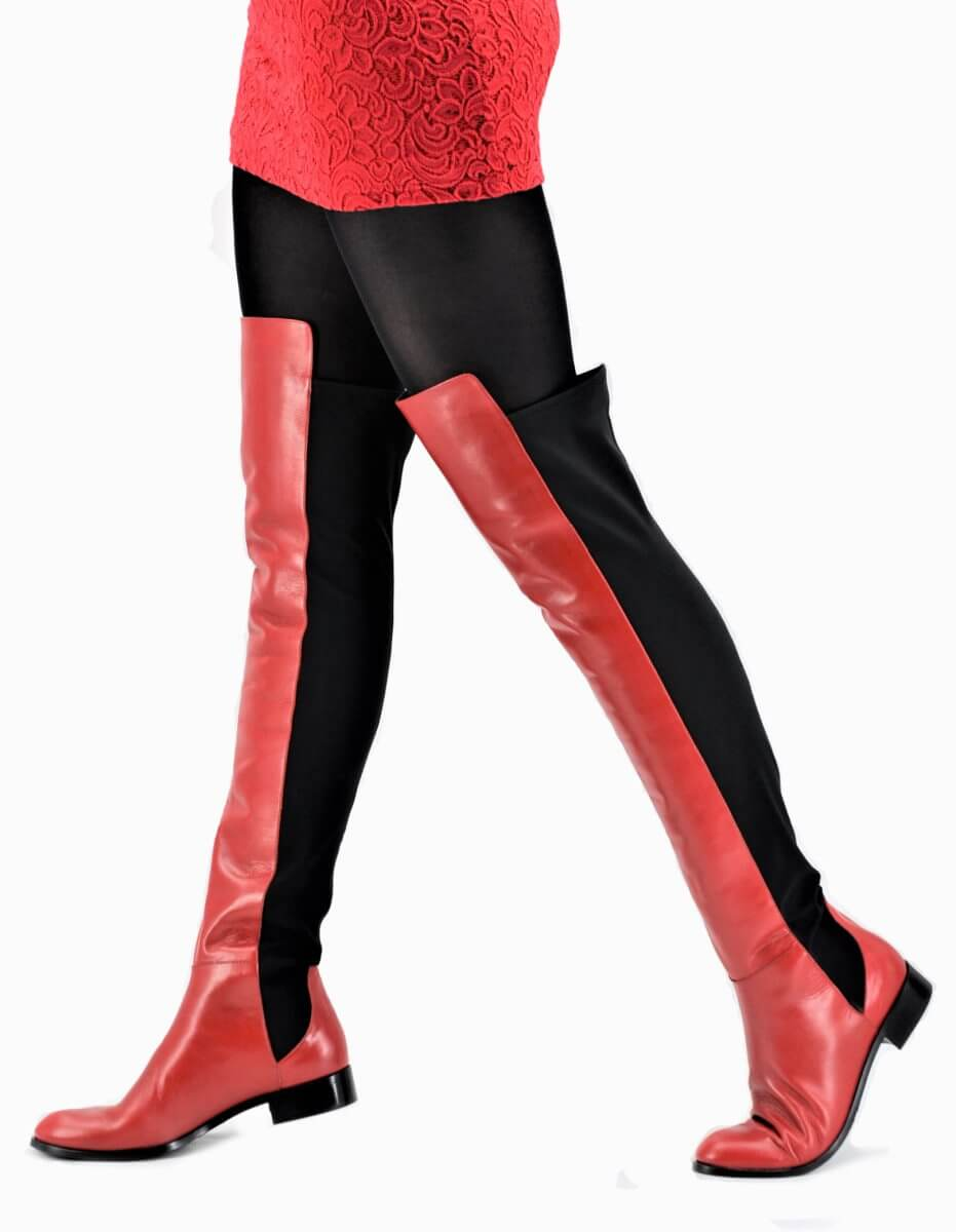 Overknee Stiefel für lange Beine in rot | Exlusive