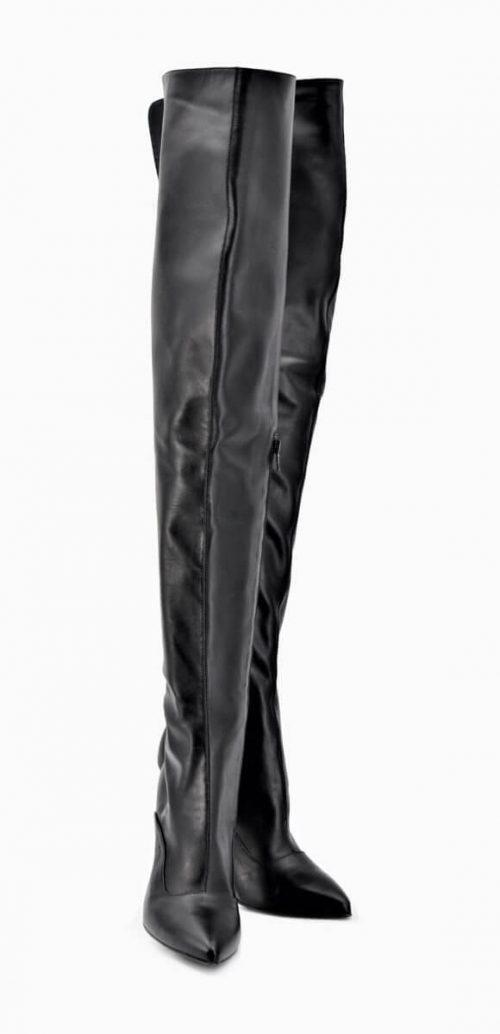 Overknee Stiefel mit stabilem Absatz in schwarz