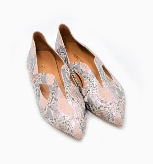 Supersoft slip-on PyhtonPrint nude rose` und silber
