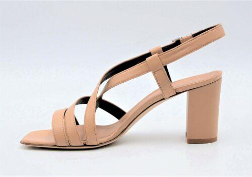 Square-Toe Nude Sandals
