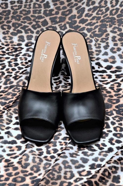 Square-Toe Black Mules