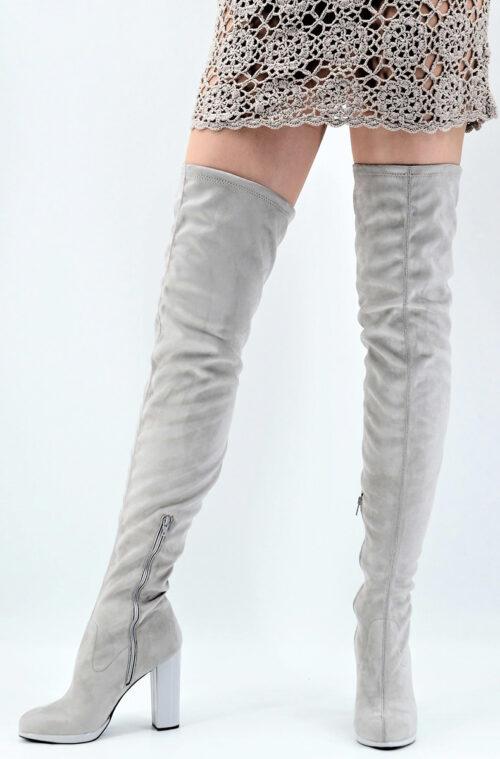 Overknees silver gray Alcantara