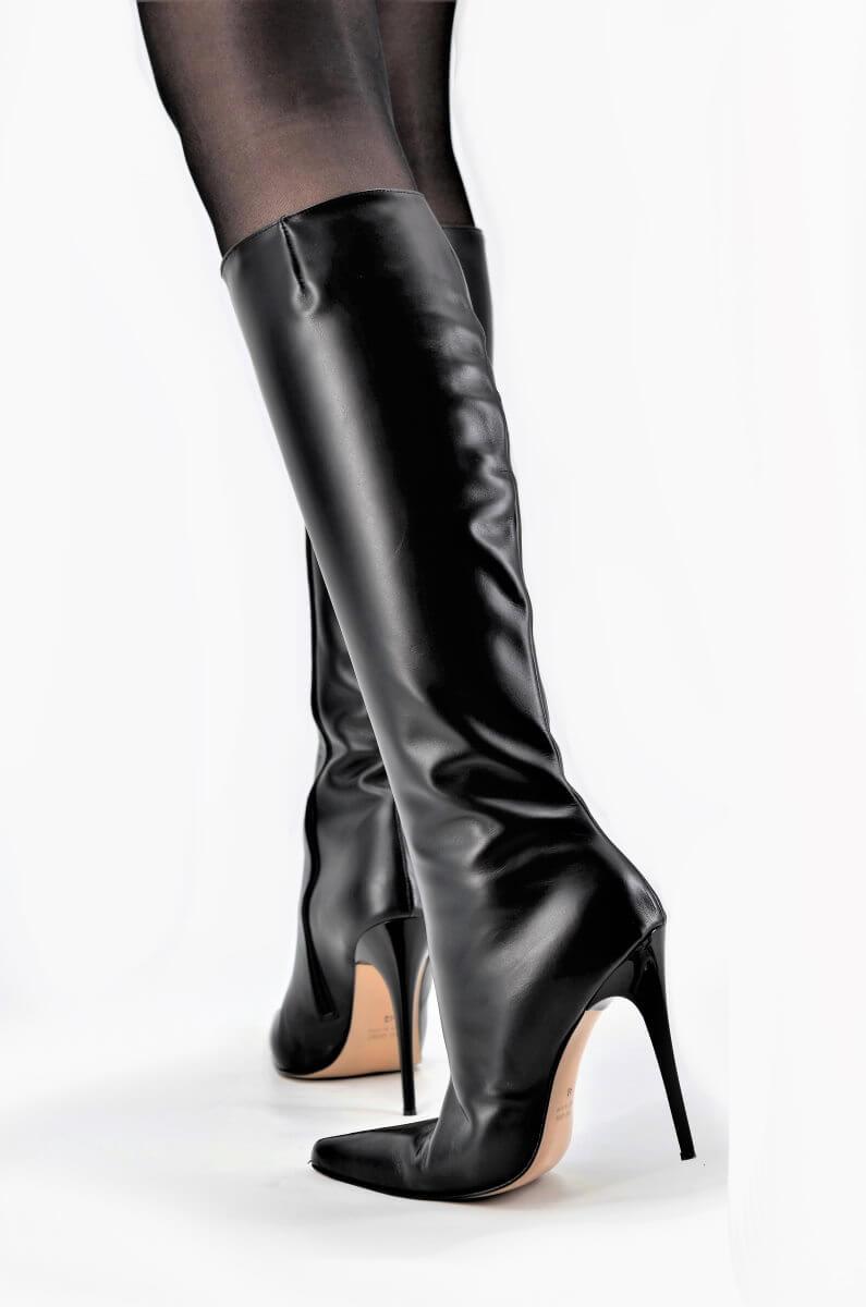 Stiletto Lederstiefel Schaft Small   Damenschuhe und