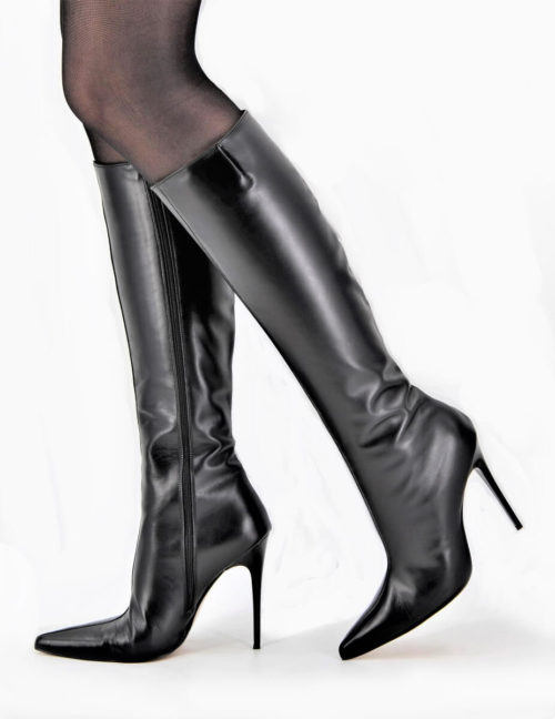 Full Black Stiletto Lederstiefel Schaft Small