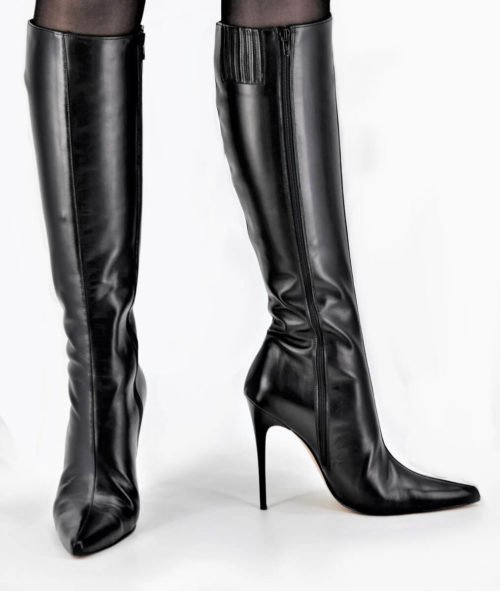 Full Black Stiletto Lederstiefel Schaft Small