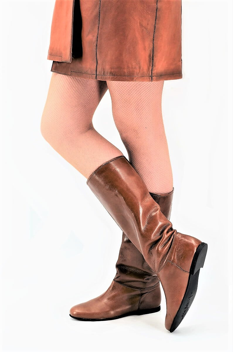 timeless design a222a 539e8 Braune Stiefel für die Übergangszeit in Old Look Leder