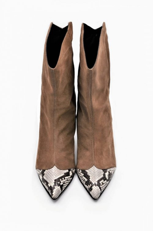 Taupe und PythonPrint Leather Booties