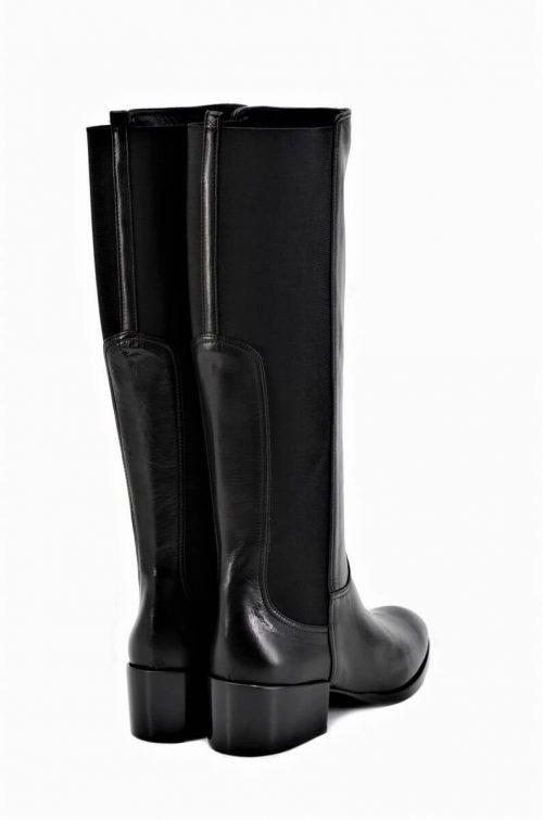 Elegante Stiefel in schwarz mit elastischem Einsatz