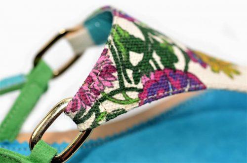 Sandalen Textil Multicolor türkis und Leder
