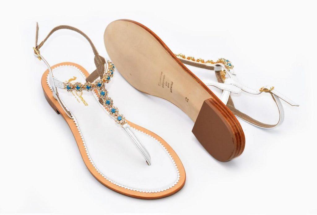 Sandalen - weißes Leder - türkis und gold
