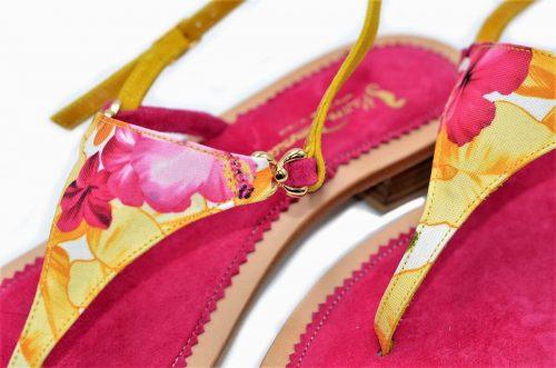 Sandalen Textil Multicolor fucsia und Leder