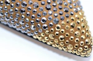 Slingbacks Satin bronze und gold