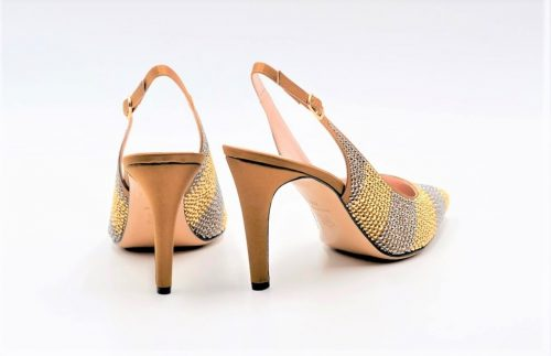 Slingbacks Satin bronze und gold