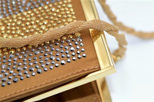 Clutch bag Satin bronze und gold