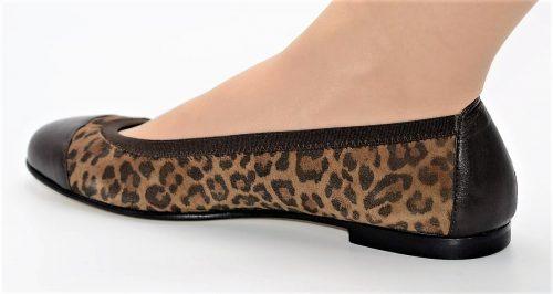 Ballerina Lederspitze braun Leopardenmuster
