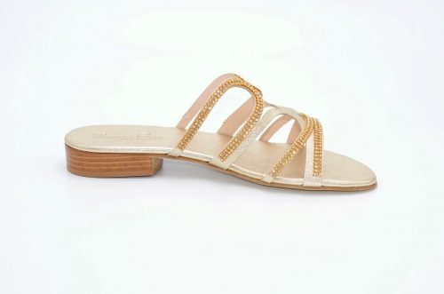 Sandalen Platinfarbe und Strass