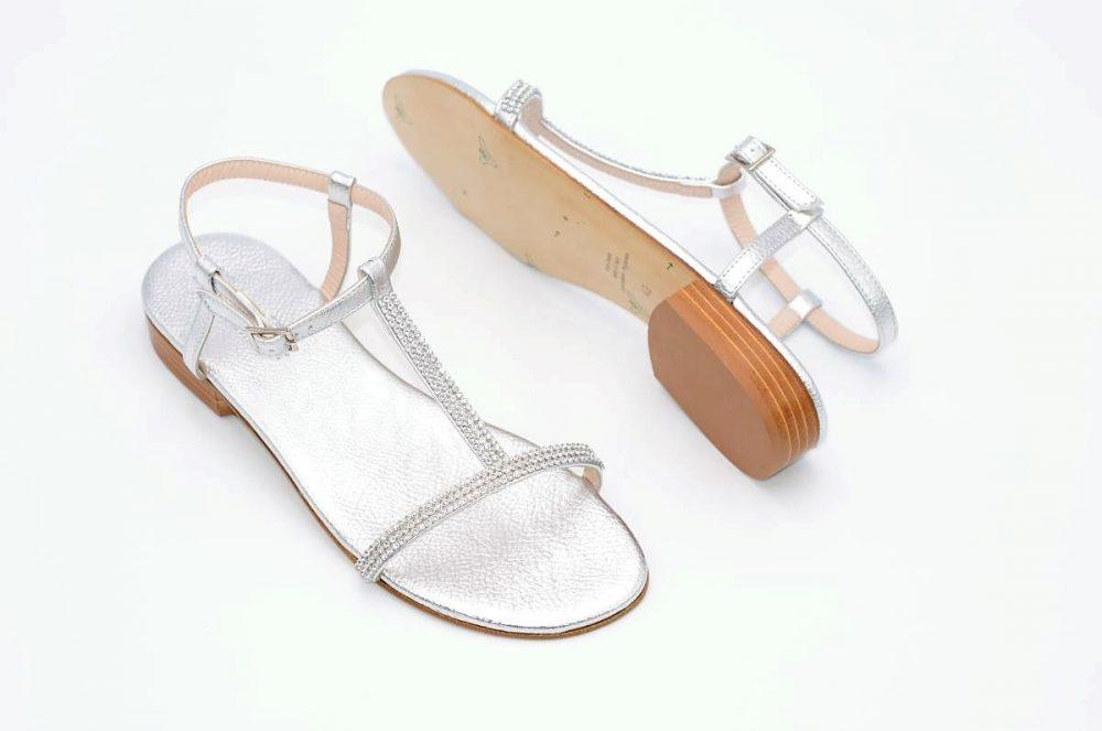 Sandalen Strass und silberfarben