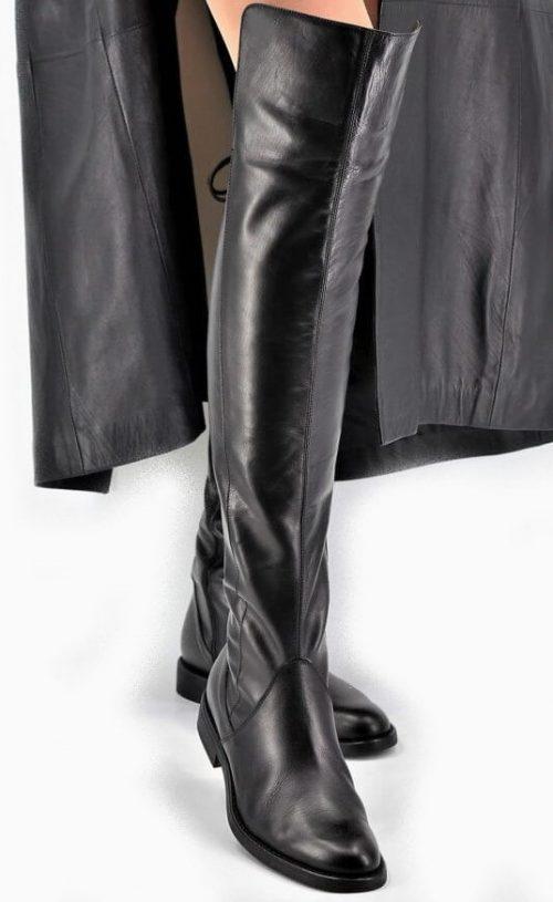 Stiefel 19-Loch für lange Beine in schwarz