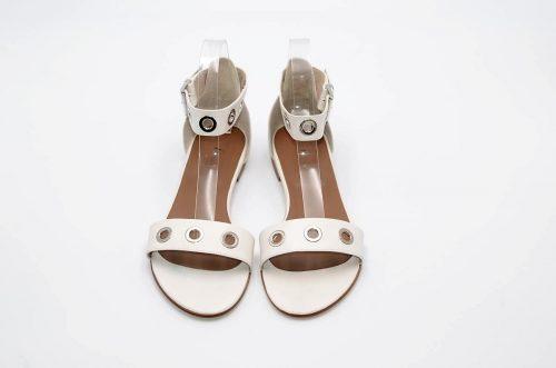 Sandalen weißes Leder mit Ösen
