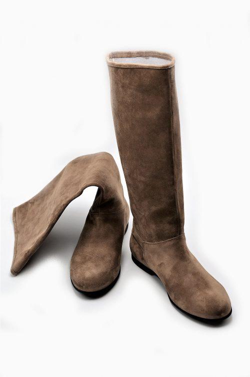 Stiefel Wildleder taupe XL-Schaftweite