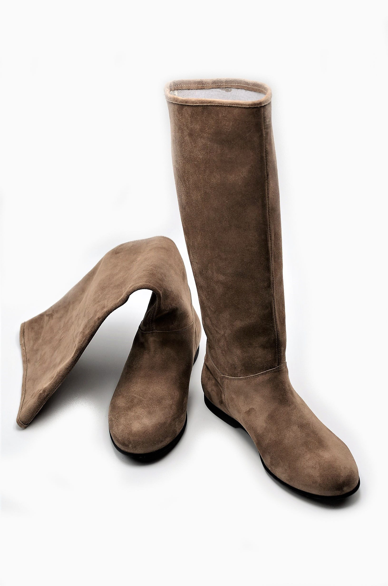 Damen Stiefel Taupe Wildleder mit Hohe Absatz Made in Italy