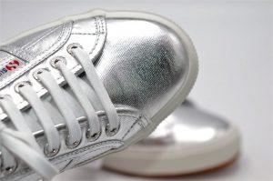 Superga silver aus Textil