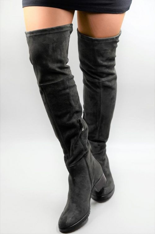 Overknee Stiefel in titangrau aus Wildleder-Stretch