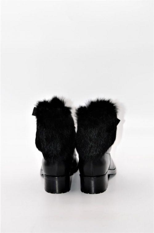 Stiefeletten aus Leder und Pelz in schwarz