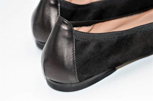 Ballerina Lederspitze schwarz und Wildleder