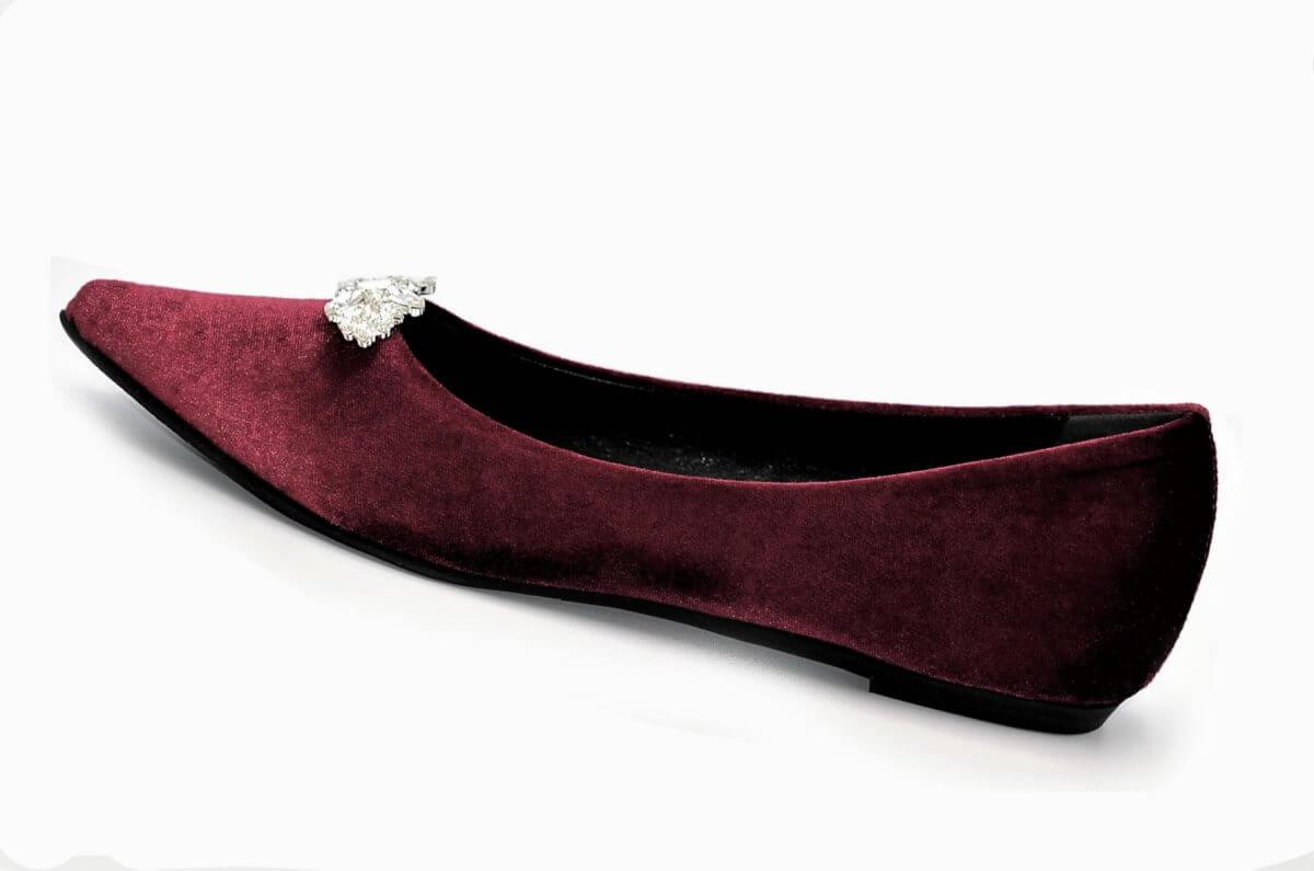 Bordeaux Und Mit Aus Ballerina Samt KristallenExlusive Stiefel In Italien Damenschuhe tshdQrC