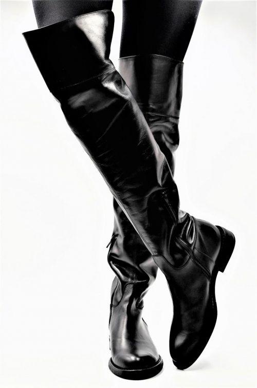 Overknee Stiefel Glattleder in schwarz