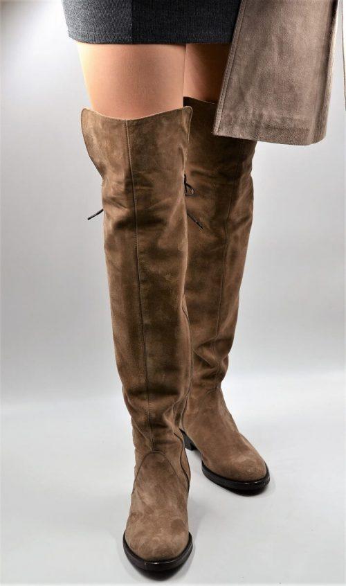 Stiefel 19-Loch für lange Beine taupe