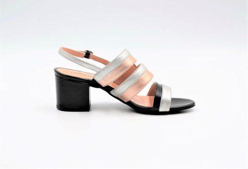 Schwarze Sandale Roségold und Silber