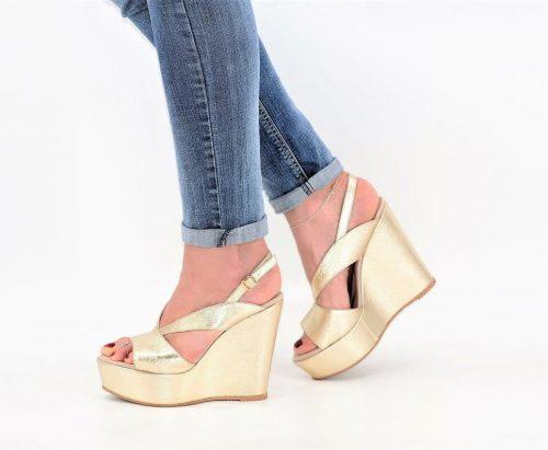 Sandalen Keilabsatz platin