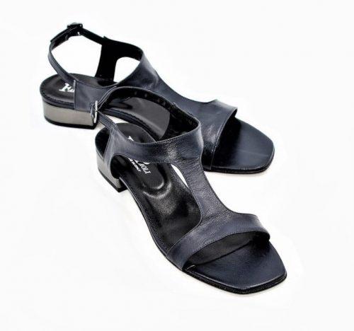Blaue Sandalen mit Lamé-Absatz