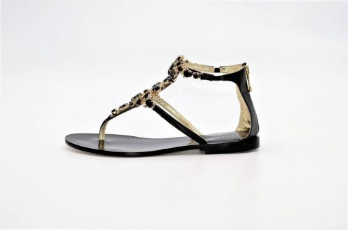 Paola Fiorenza Capri Sandals Black Crystal