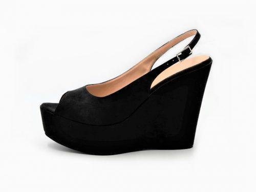 Black Peep Toe Slingback Platform Wedges