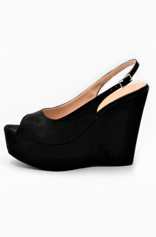 Black Peep Toe Slingback Platform Wedges