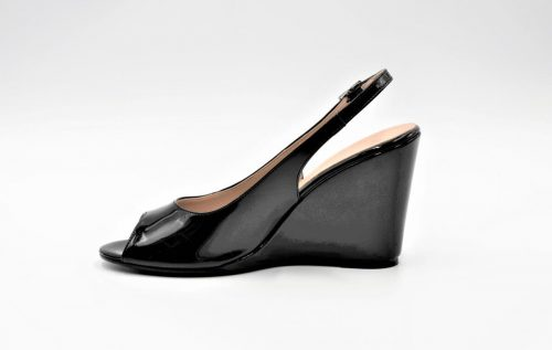 Wedges Slingback in Lack schwarz