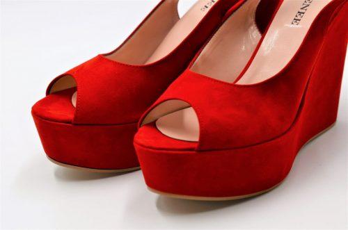 Red Peep Toe Slingback Platform Wedges
