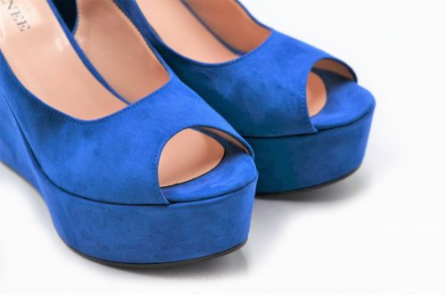 Bluette Peep Toe Slingback Platform Wedges