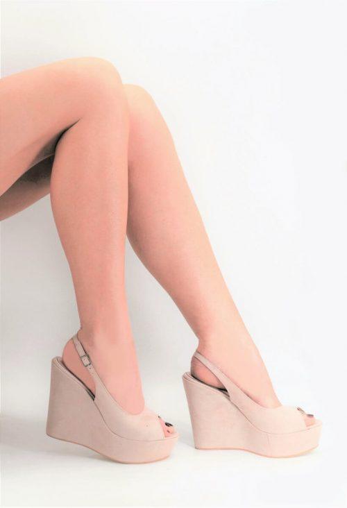 Nude Peep Toe Slingback Platform Wedges