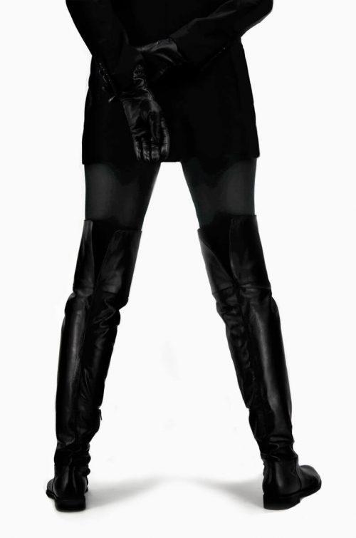 Overknee Stiefel Glattleder in schwarz extra-long