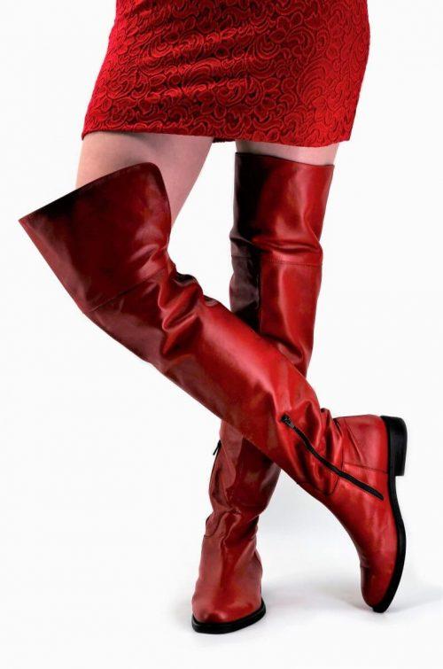 Overknee Stiefel Glattleder in rot extra-long