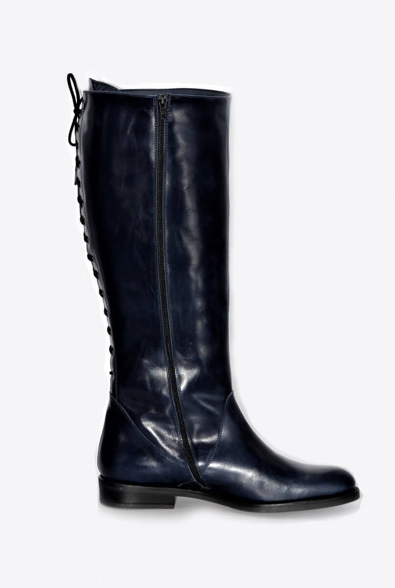 Stiefel 15 Loch in blau XL Schaftweite | Exlusive Damenschuhe und Stiefel aus Italien.