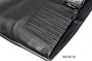 Stiefel für schlanke Beine aus schwarzem Leder. Schaft medium