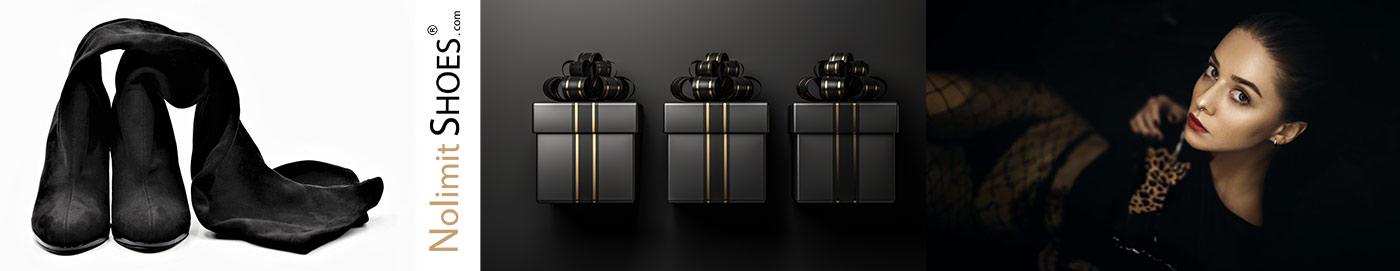 Total Black - Alles in schwarz bei Nolimitshoes.com Damenschuhe und Stiefel in Übergröße